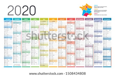 Year 2020 colorful wall calendar, in French language, on white background. Vector template