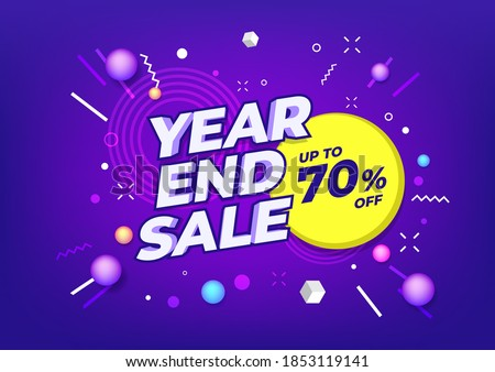 Year end sale poster or flyer design. End of year sale on colorful background.