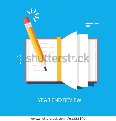 Year End Summary review vector concept, notebook with pencil writing note, journalism and interviews flat 3d illustration on blue background