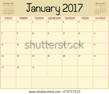 Year 2017 January Planner - A