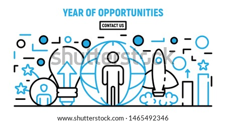 Year of opportunities concept banner. Cartoon illustration of year of opportunities vector concept banner for web design
