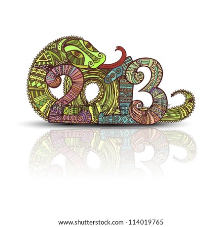 Year of the snake design in the style of Mayan