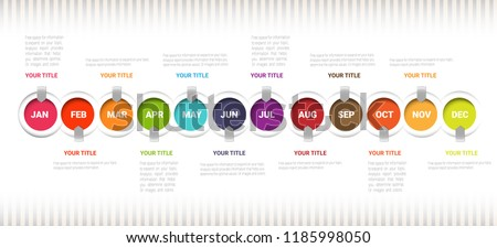 Year Planner, Timeline Infographics Template, Vector infographics timeline design template with 12 label, 12 months 1 year, Vector can be used for workflow layout, diagram, number step up options.