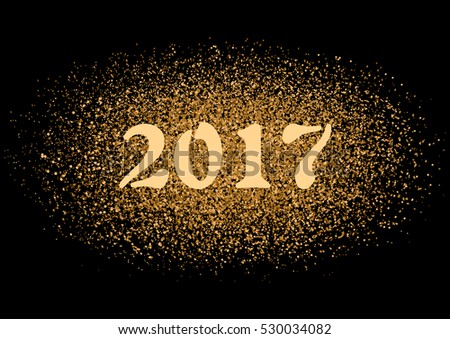Year 2017 sign on glittering sparkle vector background. #530034082