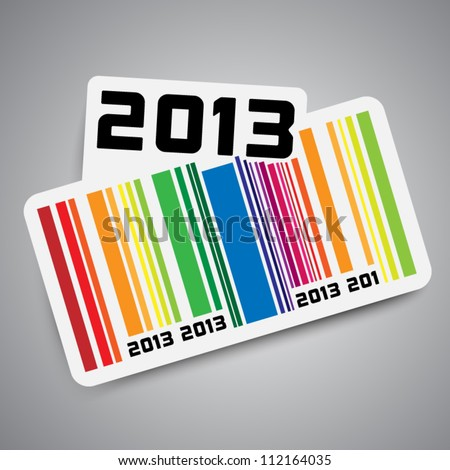 Year 2013 sticker with color bar code