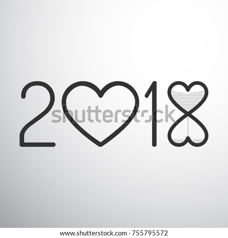 year 2018 with hearts and sand