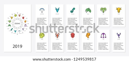 Yearly forecast by zodiac. Zodiac constellations. Template for horoscope and astrological forecast. Vector illustration.