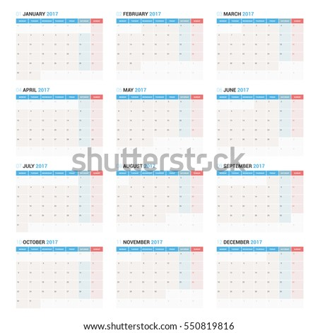 Yearly Wall Calendar Planner Template for 2017 Year. Vector Design Print Template. Week Starts Monday.