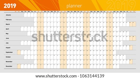 Yearly wall planner for the 2019 year. Template. Vector illustration .eps10