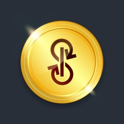 Yearn finance crypto currency digital payment system blockchain concept. Cryptocurrency golden coin isolated on dark background. Vector illustration