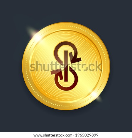 Yearn finance crypto currency digital payment system blockchain concept. Cryptocurrency golden coin isolated on dark background. Vector illustration Stock photo ©