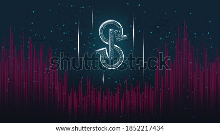 Yearn.finance YFI token symbol polygonal style of the DeFi project on dark background. Cryptocurrency logo icon. Decentralized finance programs. Vector illustration. Stock photo ©