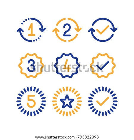Years of warranty stamp set, one two three four five numbers, guarantee signs, approved symbol, best choice mark, vector line icons