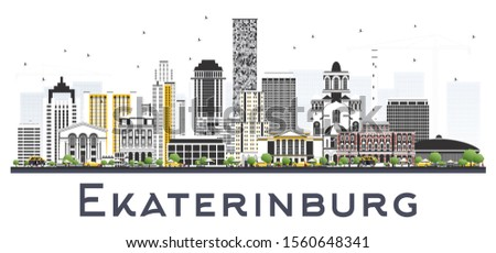 Yekaterinburg Russia City Skyline with Color Buildings Isolated on White. Vector Illustration. Business Travel and Concept with Historic Architecture. Yekaterinburg Cityscape with Landmarks.
