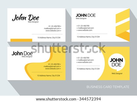 Yellow Abstract Business card set. Vector graphic design template