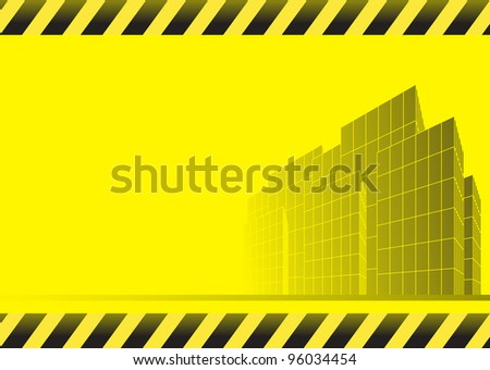 yellow abstract construction background with skyscrapers, road and space for text