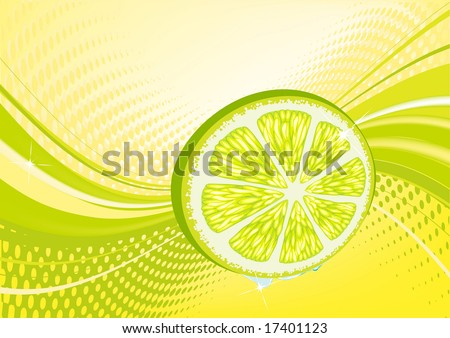 Yellow  abstract fruit background: composition of dots and curved lines - great for backgrounds, or layering over other images
