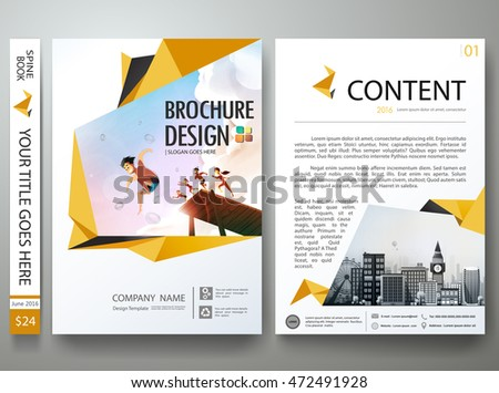 Yellow abstract shape on poster. Brochure design template vector. Summer on a4 flyers layout background . Cover book portfolio presentation report business magazine.