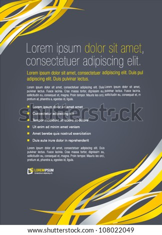 Yellow abstract template for advertising brochure. Element for modern design.
