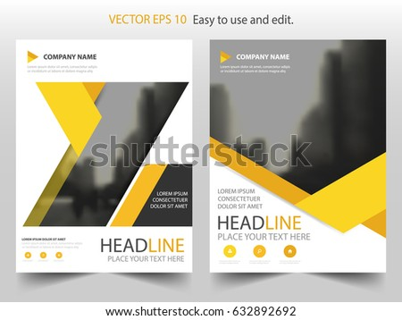Yellow abstract triangle annual report Brochure design template vector. Business Flyers infographic magazine poster.Abstract layout template ,Book Cover presentation portfolio.