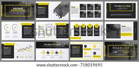 Yellow and black business presentation slides templates from infographic elements. Can be used for presentation, flyer and leaflet, brochure, marketing, advertising, annual report, banner, booklet.