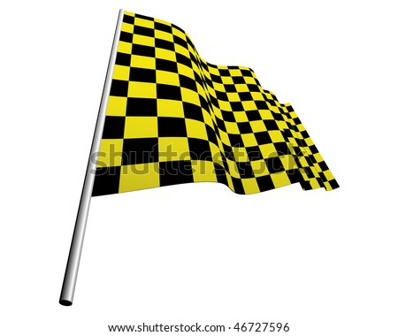 Yellow and black checked racing flag. Vector illustration.