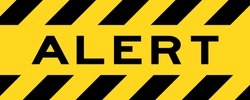 Yellow and black color with line striped label banner with word alert