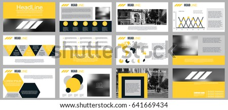 Yellow and black elements for infographics on white background. Presentation templates. Can be used for presentation, flyer and leaflet, corporate report, marketing, advertising, report, banner. #641669434