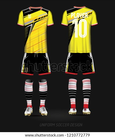 4dbfce282 Soccer kit national team shirt mock up. Vector Illustration. Yellow and  black layout football sport t-shirt design. Template front