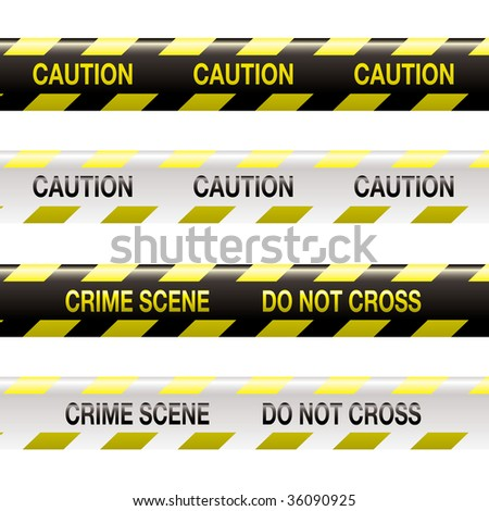 yellow and black police tape with warning stripe and text