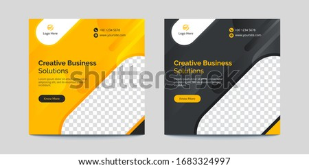 Yellow and Black Rounded Shapes Corporate Business Banner