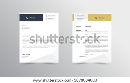 Yellow and blue Modern Business Letterhead Design Template, Abtract Letterhead Design, Letterhead Template,  - vector