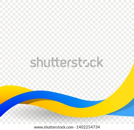 Yellow and blue ribbons, wavy ukrainian flag, Ukraine Independence Day. Decorative element for brochure, poster, postcard, presentation, flyer, card, photo. Vector illustration on blank background.