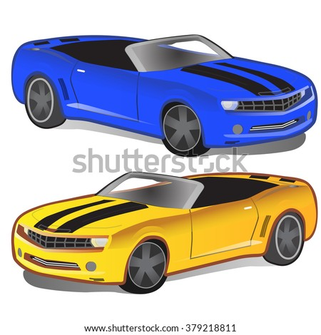 yellow and blue sports car