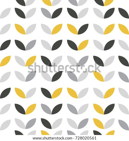 Yellow and Grey Abstract Flower Pattern