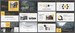 Yellow and grey elements for infographics on a white background. Presentation templates. Use in presentation, flyer and leaflet, corporate report, marketing, advertising, annual report, banner.