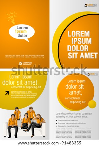 Yellow and orange template for advertising brochure with business people