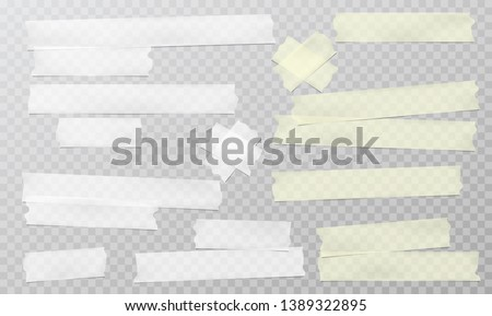 Yellow and white adhesive, sticky, masking, duct tape strips for text are on squared gray background. Vector illustration