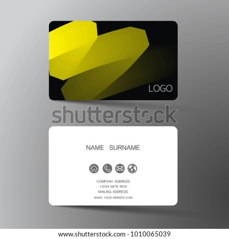 Yellow and black dark modern business card download vetores e yellow and white business card template design with inspiration from the abstract contact card reheart Image collections