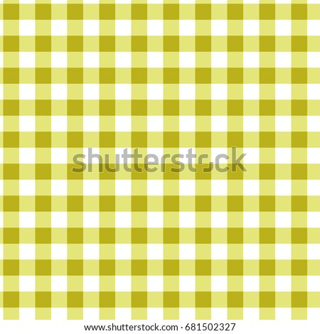 Yellow and White Gingham Checkered Seamless Pattern. Vector.