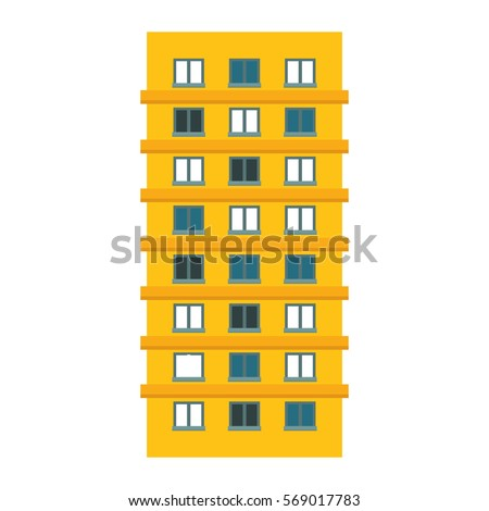 Yellow apartment building line sticker, vector illustration icon