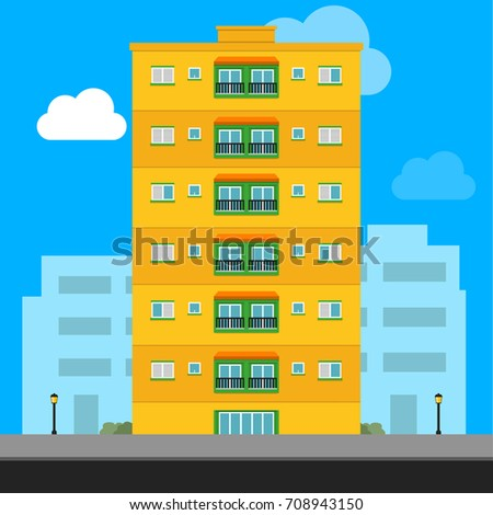 Yellow apartment building, vector illustration icon