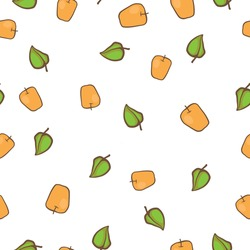 Yellow apples and green leaves. Seamless vector pattern. It can be used for any print.