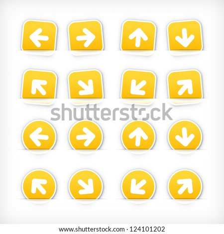 Yellow arrow sign paper sticker on cut pocket. Web button satined circles and rounded square shapes with gray drop shadow on white background. Vector illustration clip-art design element in 10 eps