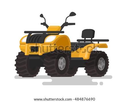 Yellow ATV. Four-wheel all-terrain vehicle. Quad bike on the isolated background. Vector illustration Stock photo ©