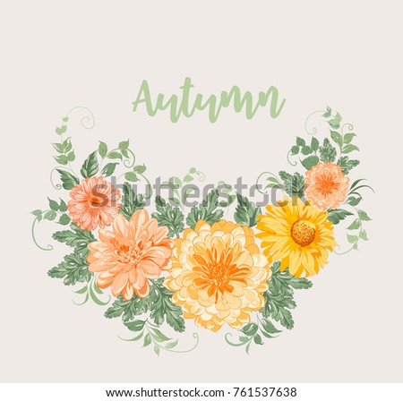 Yellow autumn flowers. Chrysanthemum garland composition. Orange blossom wreath isolated on gray background. Vector illustration.