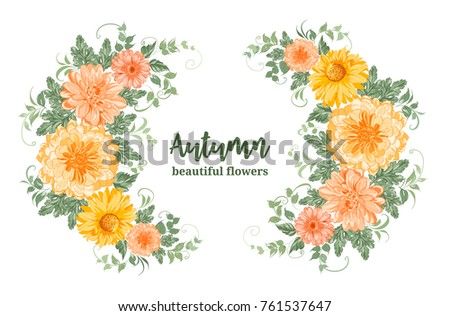 Yellow autumn flowers. Chrysanthemum garland composition. Orange blossom wreath isolated on white background. Vector illustration.