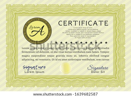 Yellow Awesome Certificate template. Printer friendly. Customizable, Easy to edit and change colors. Good design.