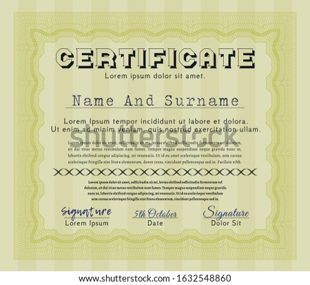 Yellow Awesome Certificate template. With linear background. Customizable, Easy to edit and change colors. Money Pattern.