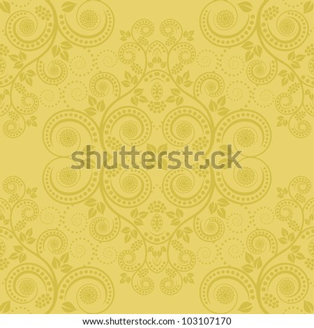 yellow background with floral decoration - stock vector